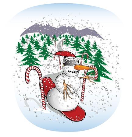 Ein Snowboard Schneemann Reiten durch einen Slalomkurs Illustration