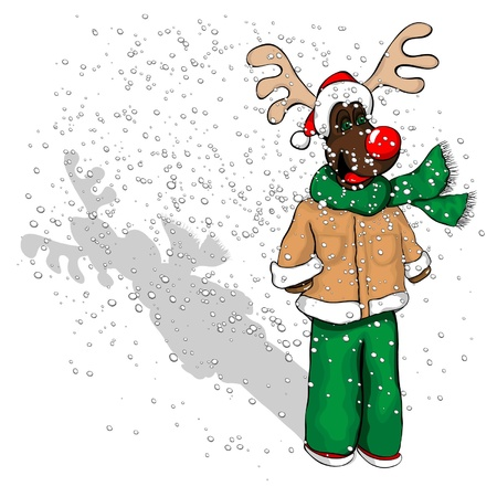 A younger reindeer with a coat on, scarf and santa hat.