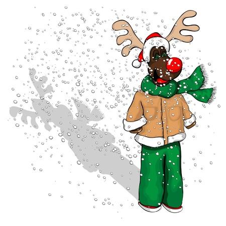 Ein j�ngerer Rentier mit einem Mantel auf, Schal und Weihnachtsm�tze.