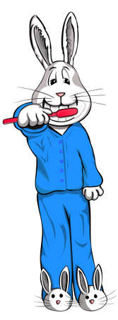 A handsome bunny brushing his teeth before bed. This bunny is wearing pajamas and even bunny slippers. Vector