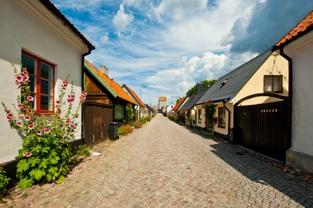 Sunny and summery street scene in Visby, Gotland, Sweden, consisting of a cobblestoned street, small houses, flowers and interesting sky