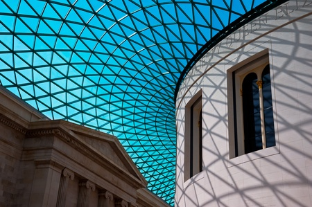 atrium: Glass roof on the Great Court atrium of the British Museum in London, England