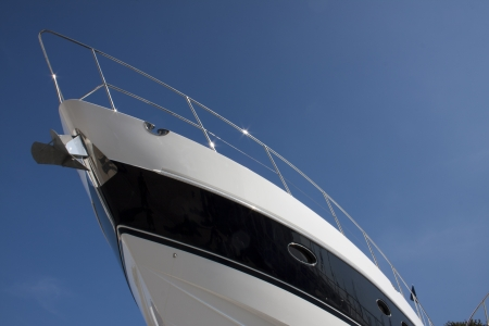 motor launch: Bow section of a luxury motor yacht