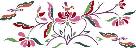 baroque border: bird and flower emblem