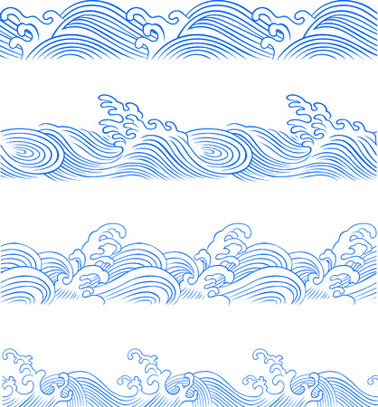 repeated: ocean wave set Illustration