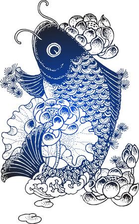 Ilustración de peces Koi  Foto de archivo - 7470652