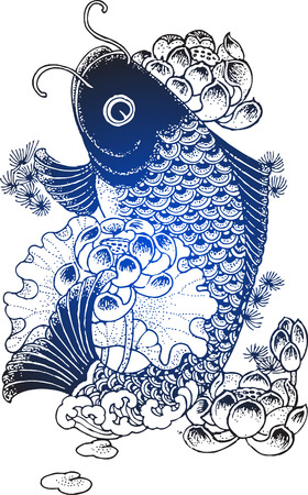 koi fish illustration Vector