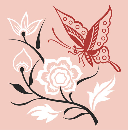 butterfly  and stylish plant Vector