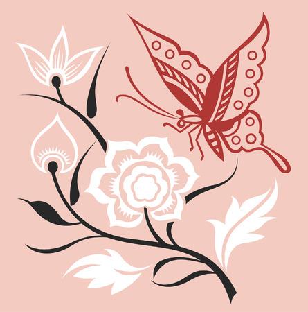 Mariposa y planta elegante  Foto de archivo - 7661671