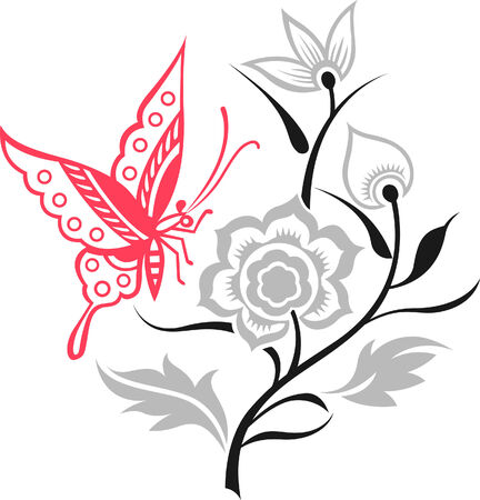 Artistic Floral and Butterfly Set  Vector