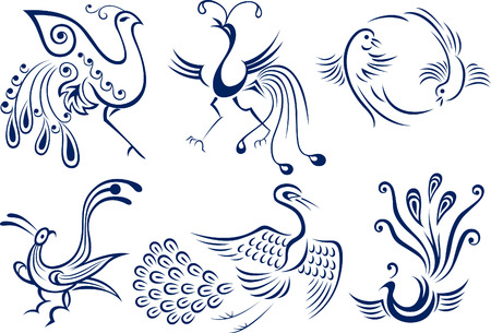 tracery: bird tribal symbol design Illustration
