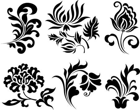 barok ornament: bloem set  Stock Illustratie