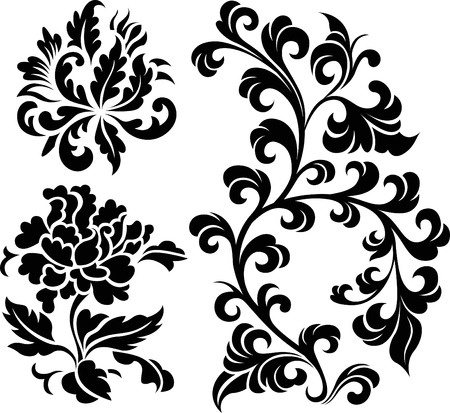 flower clip art: oriental flower design Illustration