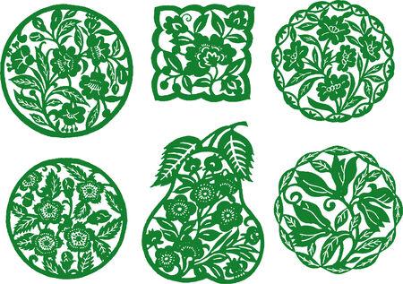 oriental flower design 向量圖像