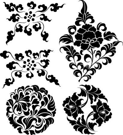 Diseño de ornamentación floral decorativos  Foto de archivo - 7936486