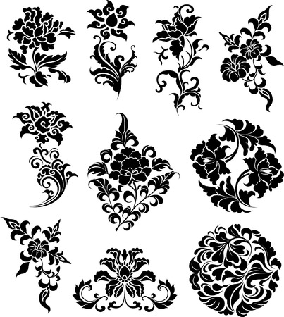 decorative branch set  Vector