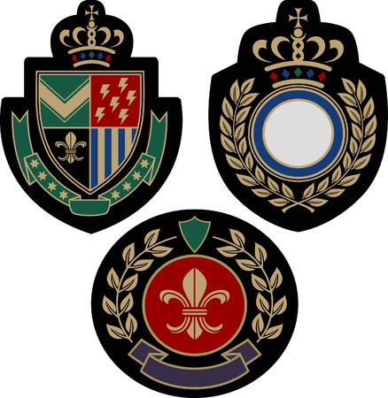 escudo militar: Escudo de insignia de emblema de insigina cl�sica  Vectores