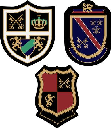 eagle shield and laurel wreath: emblem badge design Illustration
