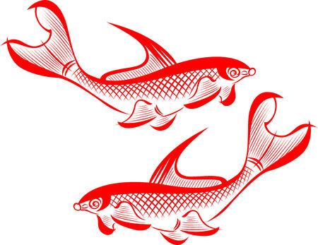 koy carp: fish tribal illustration