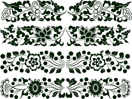 Flower Element Set Border Vector