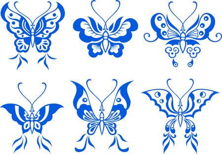 art nouveau: illustrazione della farfalla Vettoriali