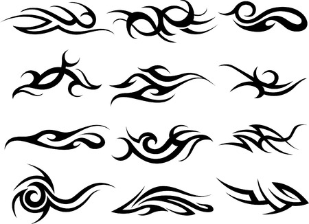 fire tattoo abstract scroll design Vector