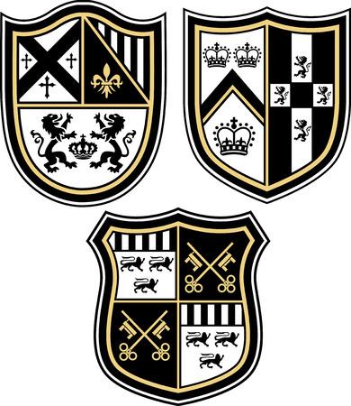 shield emblem: Emblema araldico distintivo scudo Vettoriali