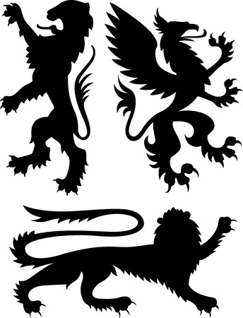 mythical: Heraldic griffin design Illustration