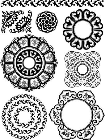 spiral floral pattern set Vector