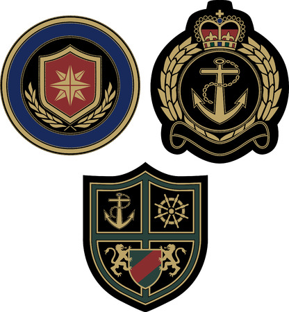 claissic royal badge with sail and yacht element Vector