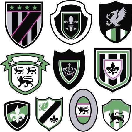 crests: Distintivo di emblema elemento reale classico Vettoriali