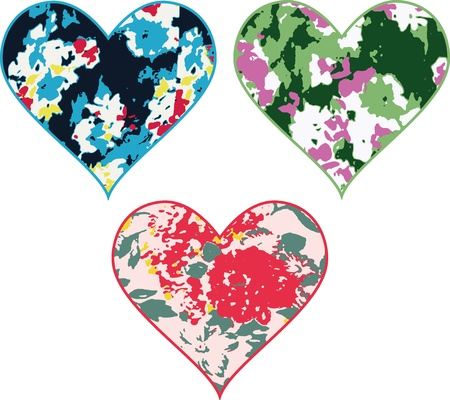 heart with flower pattern Vector