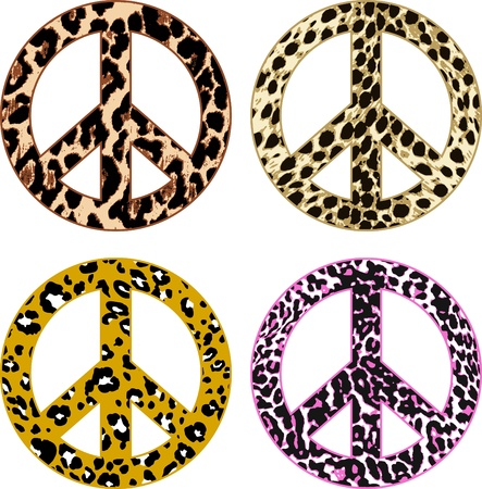 animal skin fur peace sign Vector