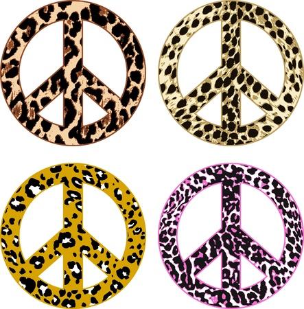 the peace: signo de paz de pieles de piel de animal Vectores