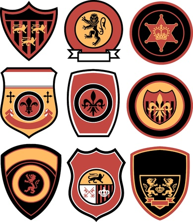 academy: classic royal element emblem badge Illustration