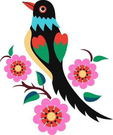 love birds: Chinese Oriental Bird Tree Illustration