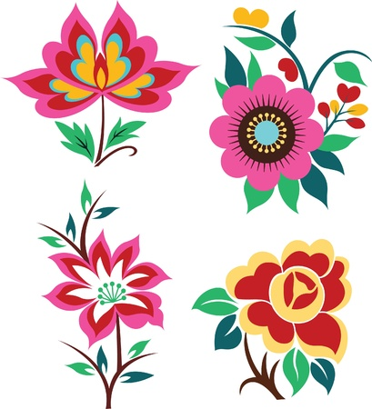 artistic flower set graphic design Vector