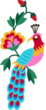 artistic bird embroidery graphic design Vector