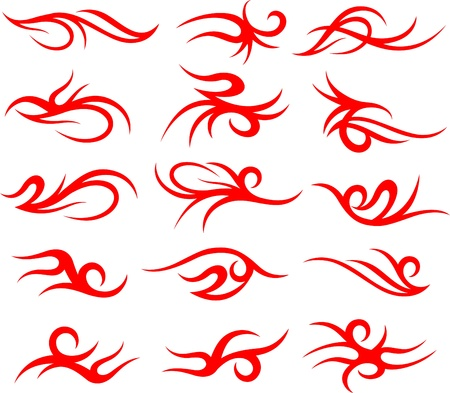 scroll tattoo symbol set Vector
