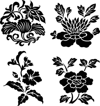 fleur noir isol� sur fond blanc Illustration
