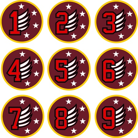 number with wing retro symbol  Vector