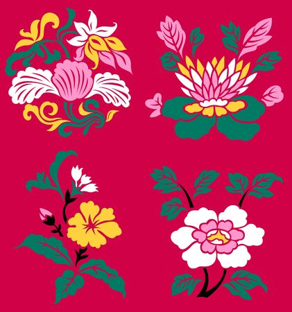 classic oriental flower set Stock Vector - 9594474