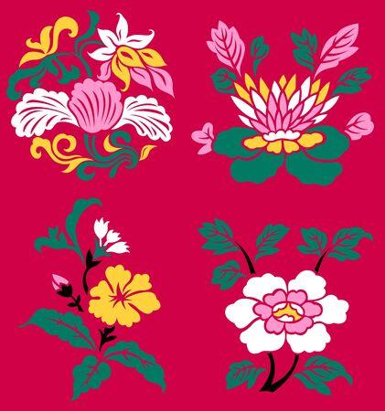 oriental flower: classic oriental flower set Illustration