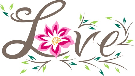 love letter with flower Vector