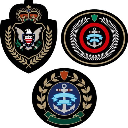 badge adventure set Vector