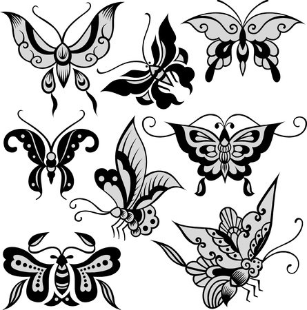 stylish butterfly set Vector