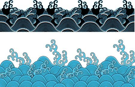 aqueous: seamless pattern di Oriental oceano onda
