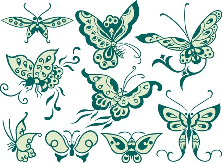 fashion butterfly set Vector