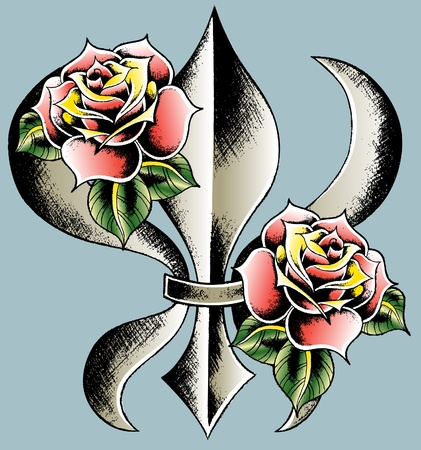 cross hatched: fleur de lys design with rose