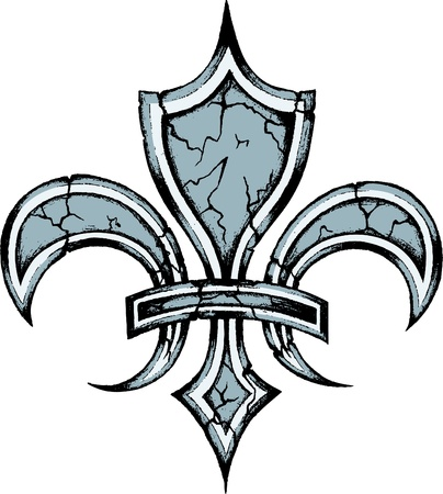 cross hatched: fleur de lys design